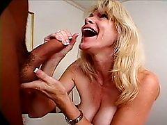 Slutty blonde milf gets a messy facial