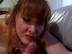Redhead blowjob queen in action