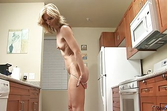 Petite Anilos cougar Dee Dee sucks off a thick dong before riding it with her super tight pussy