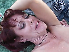 Gigantic cock rips its way into a tight mature pussy