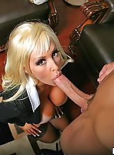 Busty Mom likes to suck on big hard young cocks