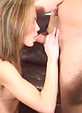 Naughty mother sucking on thick rod